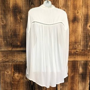 Free People Tops - Free People White Katie Bird Button Down Blouse- L